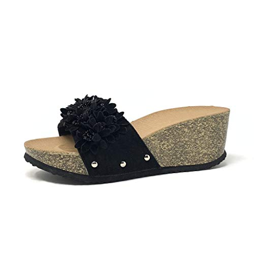 Angkorly - Damen Schuhe Mule Flip-Flops - Step - Bequeme - Strand - Blumen - Nieten-Besetzt - Kork Keilabsatz 5 cm - Schwarz 2 S99 T 37