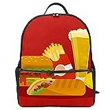 Divertida comida hamburguesa patatas fritas rollo de pollo, mochila de lona de gran capacidad, mochila de viaje casual para niños, niñas y niños estudiantes