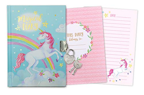 Jewelkeeper Girl s Unicorn Secret Diary with Heart Shaped Lock and Key, Private Journal