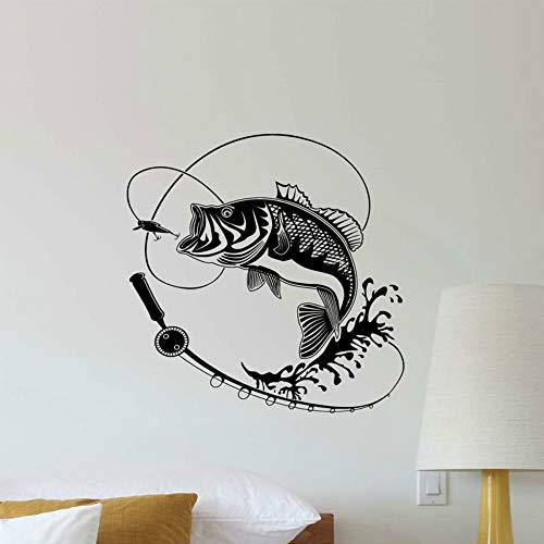 SLQUIET DIY Angeln Aufkleber Angelhaken Rod Adhesive Dekorative Aufkleber Auf Der Wand Fischer Geschenk Wohnkultur Club Poster Wandaufkleber Rot L 57x57 cm