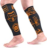 IMERIOi Orange Halloween Tags Calf Compression Sleeves Shin Splint Support Leg Protectors Calf Pain Relief for Running, Cycling,...