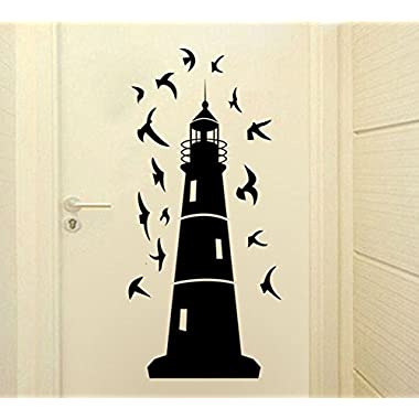 Fangeplus(TM) DIY Removable Black Lighthouse and Seagull Art Mural Vinyl Waterproof Wall Stickers Living Room Decor Bedroom Decal Sticker Wallpaper 20.8''x9''