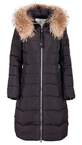 Preisvergleich Produktbild Grimada CW17D-031CH Damen Wintermantel in Daunen-Optik Parka CLASNA mit Echtfellkapuze (38,  schwarz)