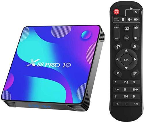 X88 Pro X10 Android 10.0 TV Box,4GB RAM 64GB ROM RK3318 Quad-Core 64bit Cortex-A53 Soporte 2.4/5.0GHz Dual-Band WiFi BT4.0 3D 4K 1080P H.265 10/100M Ethernet HDMI 2.0 Smart TV Box