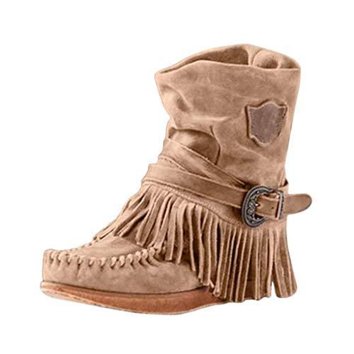 Hanyixue Botines de mocasines para mujer, Botas de flecos para mujer Botas de punta redonda Botas de color liso Zapatos planos Botas medianas con hebilla retro con borla de Roma