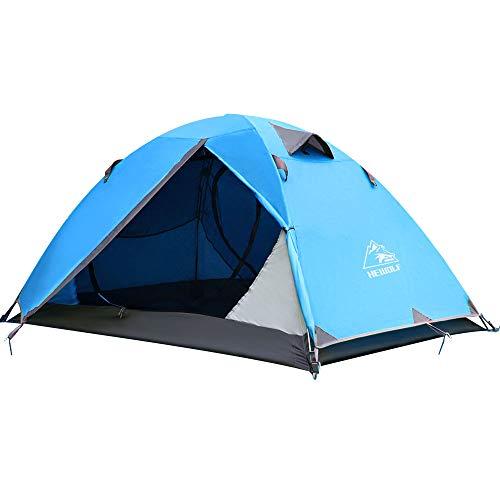 HEWOLF Rucksack-Zelt für 2 Personen, leichtes Zelt, wasserdicht, doppellagig, Kuppelzelt, Outdoor, Camping, Wandern, Zelt für Klettern, Angeln, Survival, Festivals, Garten, Bule