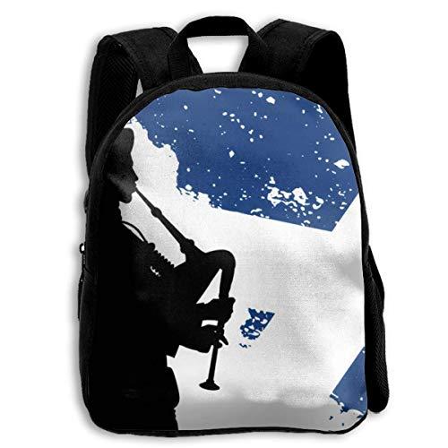 Mochila Escolar, Blue Bagpipe Silhouette of Bagpiper School Backpack Knapsack Leisure Daypack Children Rucksack For Kids Boys Girls