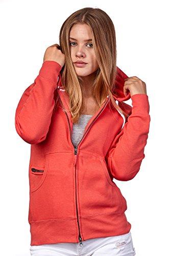 Happy Clothing Damen Sweatjacke mit Kapuze Zip Hoodie Kapuzenjacke Basic Einfarbig S M L, Größe:L, Farbe:Coral