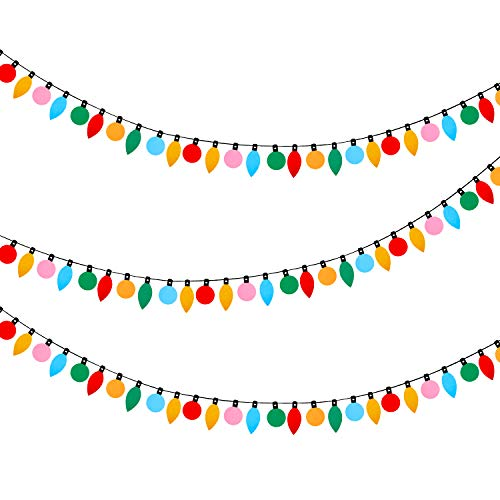 3 Pieces Christmas Felt Banners Felt Light Garlands Colorful Bulb Shaped Banners for Home Patio Door Room Christmas Birthday Party Decorations