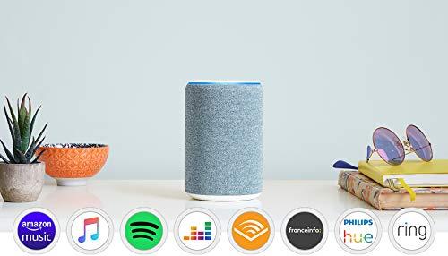Amazon Echo (3ème génération) Reconditionné Certifié, Enceinte connectée avec Alexa, Tissu bleu gris