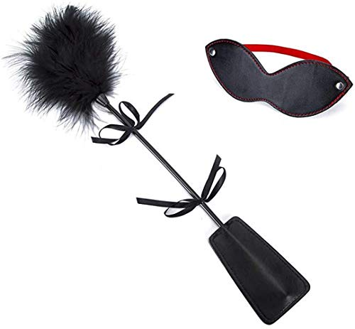 Huangte BSDM Leather Blindfold Set Feather Teaser Tickler Feather for Women Men Balck Cosplay Props HDY0384