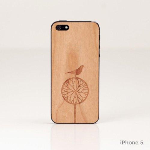 Lazerwood 21800 Cover in Legno per Apple iPhone 5/5S, con Pellicola Proteggi Schermo, Treebird, Colore: Rosso Ciliegia