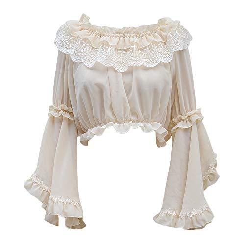Lolita Shirt, Bell Sleeve Chiffon Hemd für Damen (Beige)