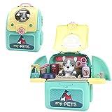 HEITIGN Haustier Pflege Rollenspiel Set, Niedlichen Tierträger Spielzeug Kinder Haustier Raumtasche...