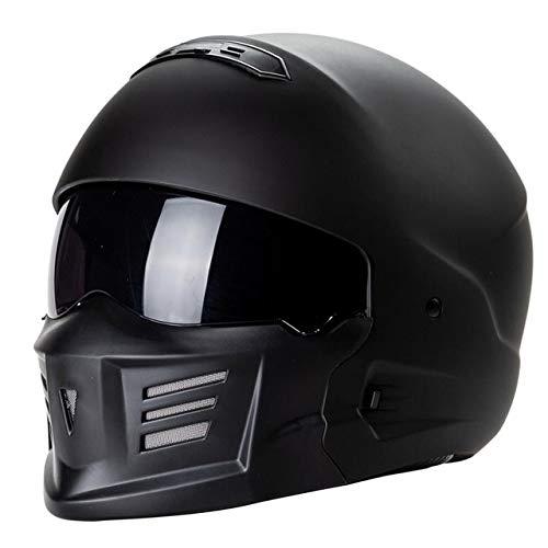 MYSdd Schwarz Moped Helm Fashion Brille Design Rennmotorradhelm Vollgesichtsschutz Moto Aden für Moto - Mattschwarz XM