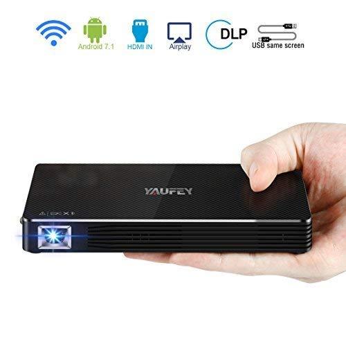 Yaufey - Proiettore tascabile Full HD DLP Pico, 150 ANSI Lumens, con Bluetooth, WiFi, supporta 1 TZ, Full HD, 1920 x 1080P, contrasto 2000:1, Android 7.1, con treppiedi