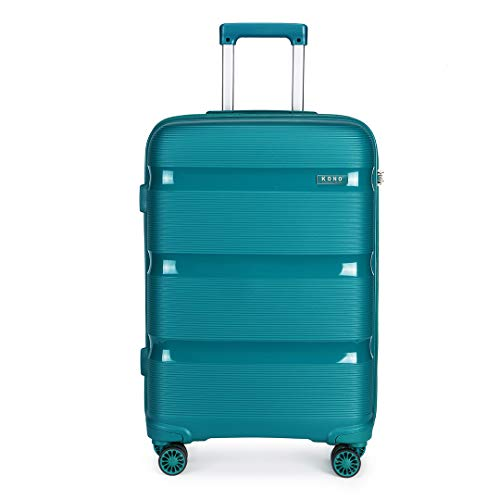 Kono 55x40x21cm Cabin Hand Luggage Hard Shell Travel Trolley 4 Spinner Wheels Lightweight Polypropylene Carry On Suitcase with TSA Lock 40L (Turquoise)