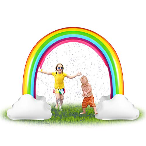 HAPAH Inflatable Rainbow Sprinkler Backyard Games Summer Outside Water Toy, Yard Fun for Kids with Over 6 Feet Long Giant Sprinkler