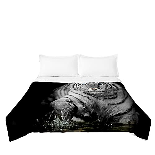 Surwin Tagesdecke Bettüberwurf Steppdecke für Doppelbett Einzelbett, Mikrofaser Wattiert Gesteppt Bettdecke 3D-Tiger-Druck Dünne Tagesdecken mit Ultraschall genäht (Weißer Tiger,220x240cm)