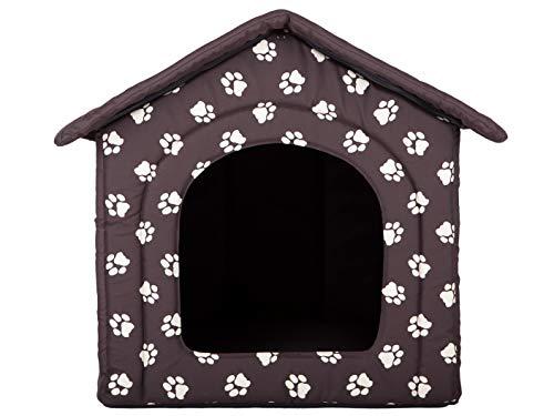 HobbyDog Hundehütte Hundebett Tierbett Katzenbett Braun mit Pfoten