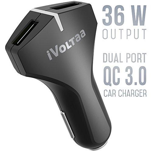 iVoltaa QC 3.0 Dual Port 36 W Turbo Car Charger - (Black)