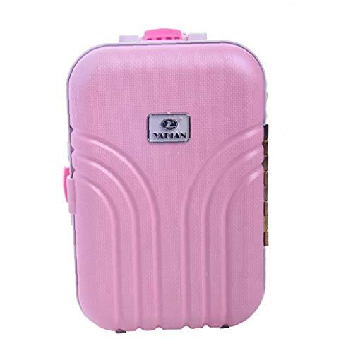 Muñecas caso del tranvía, Maleta bebé lindo juguete rodante de plástico mini maleta de equipaje Caja Adecuado para muñecas y accesorios para el Día del Niño, Regalo de cumpleaños (rosa)