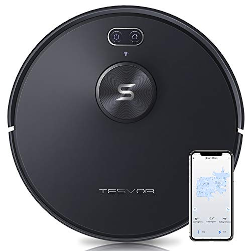 Robot Vacuum Cleaner - Tesvor S6+ 2700Pa Precise Laser Navigation Robotic Vacuum for Pet Hair&Carpets&Hard Floors with Real-Time Mapping, Smart Laser Object Recognition & No-go Zone (5200mAh Battery)