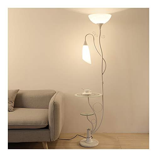 LED LED Stehleuchte, Wohnzimmer Schlafzimmer Nachttischlampe modernen minimalistischen kreative Fernbedienung LED Stehleuchte Lagerung Tee Tischlampe-White-Warmlight