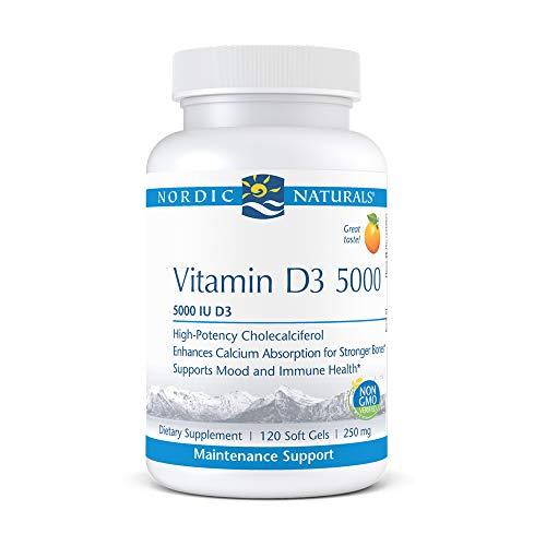 Nordic Naturals Pro Vitamin D3 5000, Orange - 5000 IU Vitamin D3 - 120 Mini Soft Gels - Supports Healthy Bones, Mood & Immune System Function - Non-GMO - 120 Servings