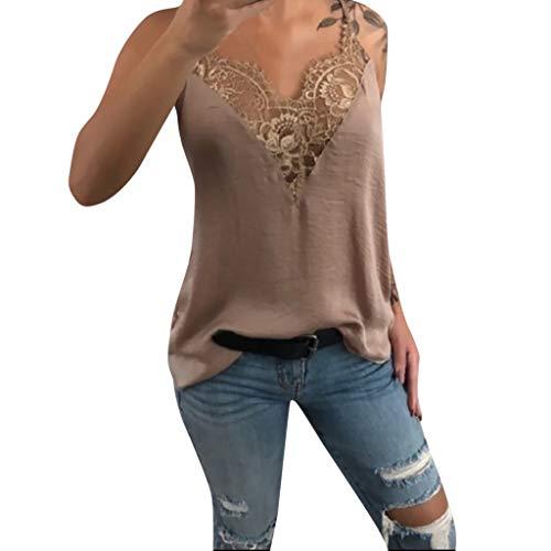 VEMOW Tirantes Camisetas Mujeres Chaleco de Encaje Cuello en v sin Mangas Floja Camisola Casual Tops Blusa