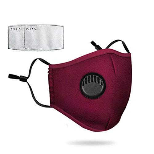 Waschbarer Gesichtsschutz mit 2 Filter, austauschbarer Gesichtsschutz, staubdicht, schmutzabweisend, wiederverwendbar, rot