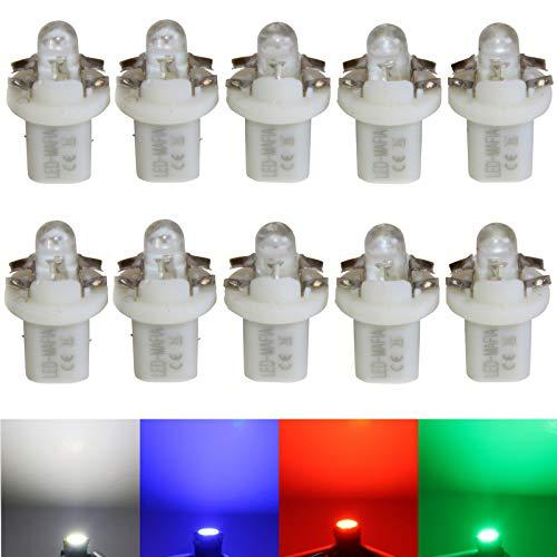 LED-Mafia 10X Halogen B85d BAX10D Round Heat Tachobeleuchtung Set - weiß blau rot (weiß)