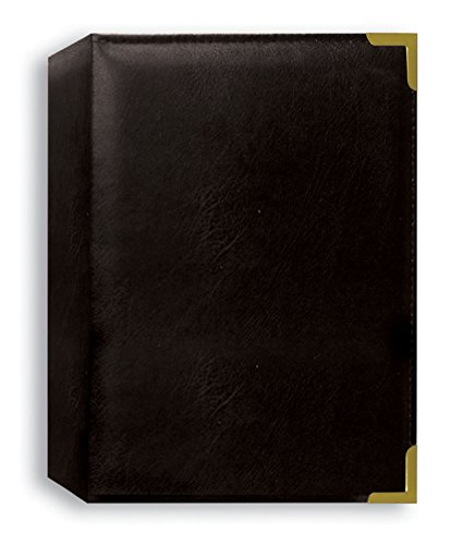 Pioneer Photo Albums 208 Pocket Black Sewn Leatherette Cover with Brass Corner Accents Photo Album, 4 by 6-Inch