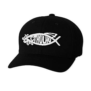 Cthulhu Fish Embroidered Flexfit Adult Cool & Dry Piqué Mesh Cap Hat - [Black]