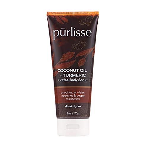 purlisse Coconut Oil Coffee + Turmeric Coffee Body Scrub: Cruelty-free & clean, Paraben & Sulfate-free, Gentle exfoliant, Anti-inflammatory |6oz