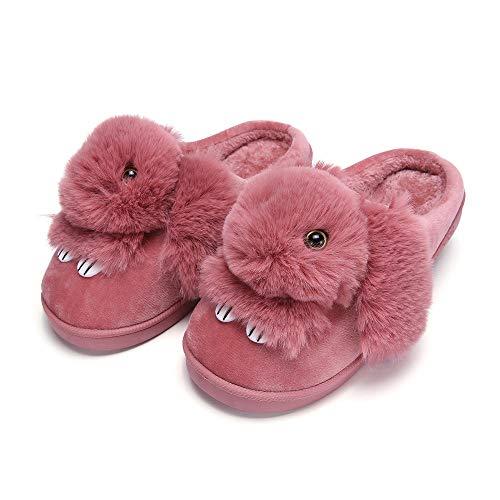 Y-PLAND Zapatillas de algodón de Conejo de Dibujos Animados, Zapatillas de algodón para el hogar de Invierno, Zapatillas Gruesas y Resistentes al Desgaste para Interiores-Rojo Oscuro_US8-8.5