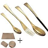 Set de Cubiertos de 24 Piezas, Acero Inoxidable Cubiertos Cuchillo Tenedor y Cuchara Espejo Juego de vajilla Ideal para Restaurante Temático, Hotel, Fiestas-Oro