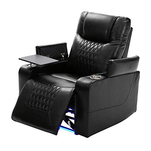 Electric Recliner Chair with USB Charge Port, 360 Swivel Tray Table, Hand in-Arm Storage, and Cup Holders, Ambient Lighting - Ambient Lighting Gaming Recliner Chair Home Theater Seating