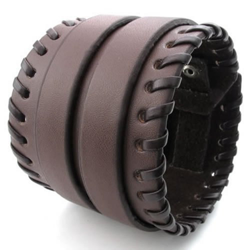 KONOV Herren Damen Leder Armband, Breit Armreif, Fit 16,5–19,1cm, braun