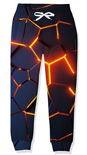 RAISEVERN Kinder Mädchen Jungen Schwarze Jogginghose Jogging Bottom 3D Print Sport Loungewear Jogpants Hose