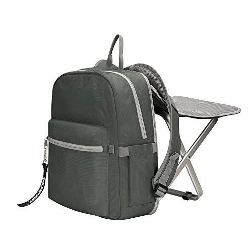 BigTron Rucksack Stuhl, Ultraleicht Angelrucksack mit Stuhl/Klappstuhl mit Rucksack für Camping, Wandern (Grau)