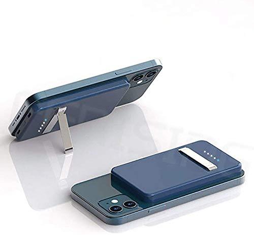Mag-Safe Wireless Power Bank, 15W Tragbare Magnet Wireless Powerbank Mit Handyhalterung Und Externem 5000 mAh-Akku, Geeignet Für IPhone 12/12 Mini/Pro/Max Usw (Blau)