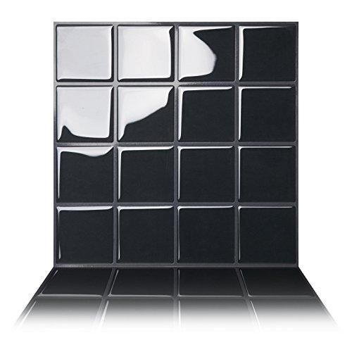 Tic Tac Tiles - 25 cm x 25 cm despegar y Pegar Azulejos para baño, Cocina, PVC, decoración de Azulejos en Plaza Grande Negro (10 Hojas)