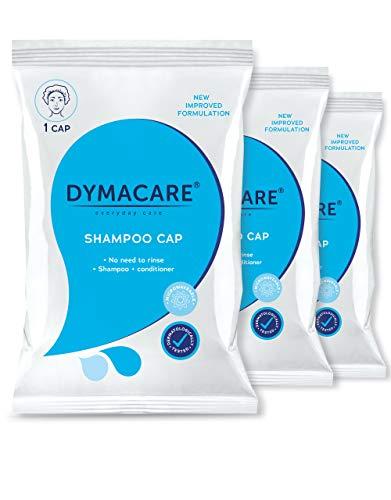 DYMACARE® Shampoo Haube, Haare waschen ohne Wasser mit leichter Duftnote nach grünen Äpfeln, Klinikqualität (3 Packungen)