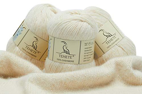TEHETE Ovillo de lana, 100% Cachemira Hilo 3 Bolas x 50g, para manta, suéter calcetín, bufanda,...