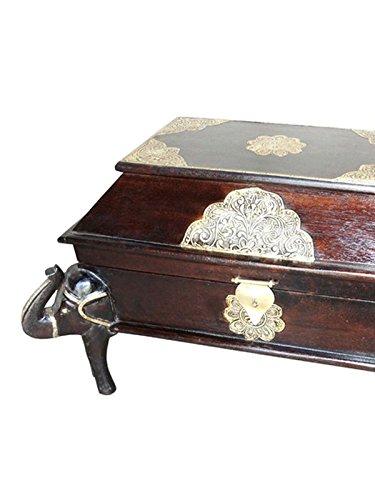 Orientalische Truhe Kiste aus Holz Durah 56cm groß | Vintage Sitzbank mit Aufbewahrung für den Flur | Aufbewahrungsbox mit Deckel im Bad | Betttruhe als Kissenbox oder Deko im Schlafzimmer - 2