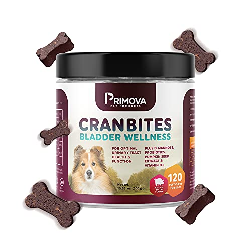 Primova Pet Products – Cranbites Bladder Wellness for Dogs with Vitamin D3, Dog Health Supplies, for Optimal Urinary…