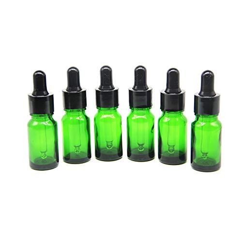 Yizhao Verde Frasco Cuentagotas Cristal 10ml, Botellas Cuentagotas con [Pipeta Cuentagotas Cristal], para Aceite Esencial, Masaje,Fragancia, Aromaterapia, Laboratorio - 12Pcs