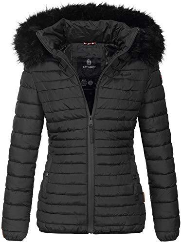 Navahoo Designer Damen Winter Jacke Steppjacke Stepp Winterjacke B655 [B655-Aran-Schwarz-Gr.S]