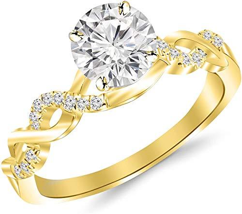 JewelsForum Diamante Redondo De 0,63 Quilates, Anillo Infinito De Oro Macizo De 14 K, Alianza De Compromiso, Diamante Solitario De 0,5 Quilates (Color- Hi, Clarity-I1 / I2) (Oro Amarillo)